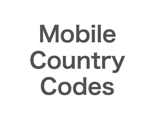 Mobile Country Codes